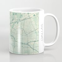 dallas Mugs featuring Dallas Map Blue Vintage by City Art Posters