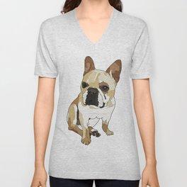 Frenchie Dog (tan/white) Unisex V-Neck
