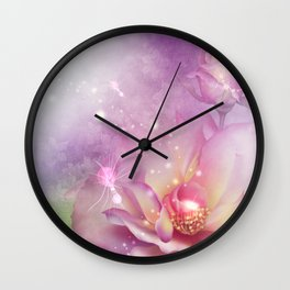 Wonderful flowers in soft purple colors Wall Clock