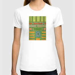 Filled Rectangles on Green Dotted Wall T-shirt