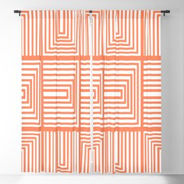 Mid Century Modern Lines and Shapes in Orange Blackout Curtain