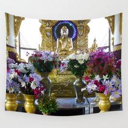 Buddha Shrine a Kuthodaw Pagoda, Myanmar Wall Tapestry