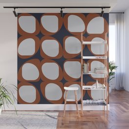 Geometric Pattern I - Navy and Rust Wall Mural