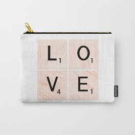 LOVE Scrabble Tiles on Custom Vector Wood Background Carry-All Pouch