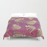 sloths Duvet Covers featuring Happy Little Sloths by ponychops