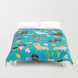 Dachshunds beach summer tropical vacation weener dogs doxie gifts Duvet Cover
