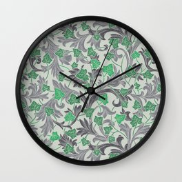 Green ivy with grey ornament on beige background Wall Clock