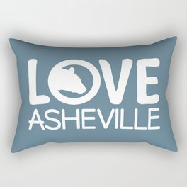 LOVE ASHEVILLE - AVL 13 WHITE ON BLUEGREY Rectangular Pillow