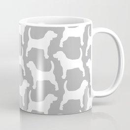 Grey and White Beagle Silhouettes Pattern Coffee Mug