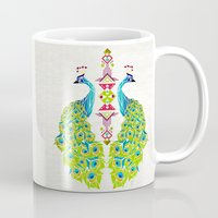peacock Mugs featuring peacock by Manoou
