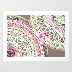 Mandalas indigo watercolor and flowers Art Print