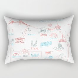 San Francisco Illustrated Calligraphy Map Rectangular Pillow