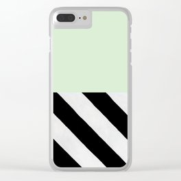 PARALLEL_LINES_GREEN_MINT Clear iPhone Case