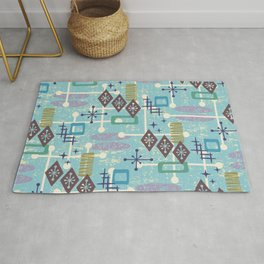 Retro Mid Century Modern Atomic Abstract Pattern 245 Rug