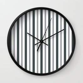 PPG Night Watch Pewter Green & White Wide & Narrow Vertical Lines Stripe Pattern Wall Clock