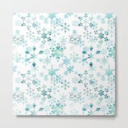 Snowflake Crystals In White Metal Print