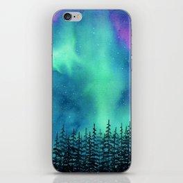 """Wilderness Lights"" Aurora Borealis watercolor landscape painting iPhone Skin"