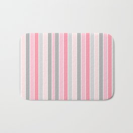Classic Pink and Gray Stripes Bath Mat