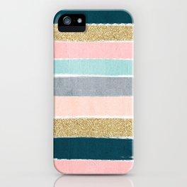 Zara - minimal gold navy pink pastel stripes painterly boho decor trendy gifts iPhone Case