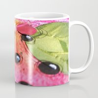 hot pink Mugs featuring hot pink by Kras Arts - Fly Me To The Moon