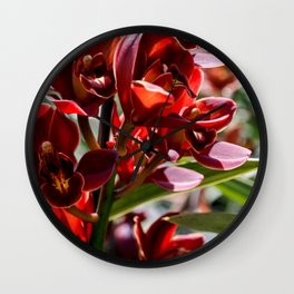 Red Orchids Wall Clock