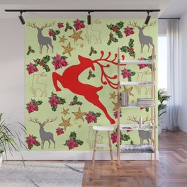 DECORATIVE LEAPING RED DEER  & HOLY BERRIES CHRISTMAS  ART Wall Mural
