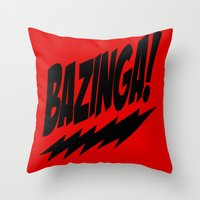 bazinga Throw Pillows featuring bazinga by  Alexia Miles photography