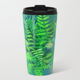 Fern, floral art, forest plants, green & blue Travel Mug