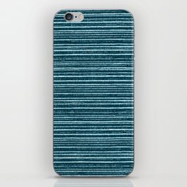 Teal watercolor brushstrokes geometrical stripes iPhone Skin