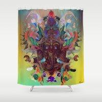 ganesha Shower Curtains featuring Ganesha by Archan Nair