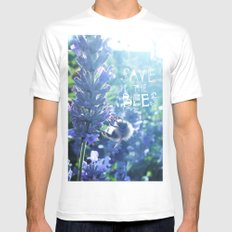 Save the Bees Campaign White SMALL Mens Fitted Tee