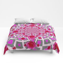 PURPLE OPTICAL GREY  ART RED &  PINK ROSE PATTERN Comforters