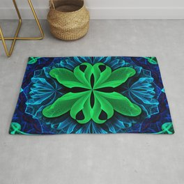 In the Deep Blue Lily Pad Dreams of a Green Man Rug