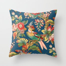 Antique French Chinoiserie in Blue Throw Pillow