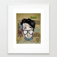 geek Framed Art Prints featuring Geek by Aguamala