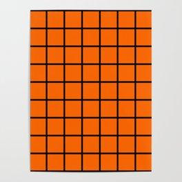 ORange and black cube Poster