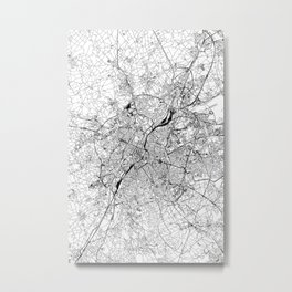 Brussels White Map Metal Print