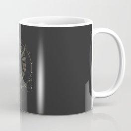 Mystic 94 Minimalist Magical Astrological Illustration Moon Sun Embrace Symbol, Yellow Pastel Gothic Boho Bohemian Style Coffee Mug