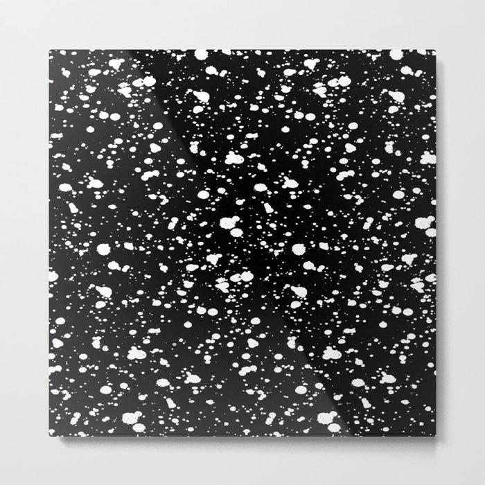 Paint Spatter White on Black Metal Print