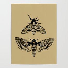 Antique Deaths Head Hawk Moth Pointillism Poster
