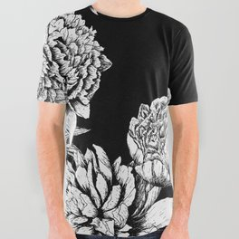 FLOWERS IN BLACK AND WHITE All Over Graphic Tee