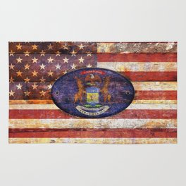 Michigan and USA flag on old wooden planks. Rug