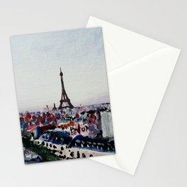 Paris Eiffel Tower Acrylics On Canvas Board Stationery Cards