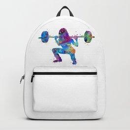 Squat Girl Art Fitness Gift Colorful Blue Purple Watercolor Artwork Gym Art Backpack