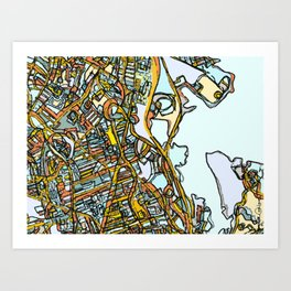 Abstract Map- Dorchester MA Art Print