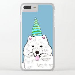 Samoyed with Party Hat Clear iPhone Case
