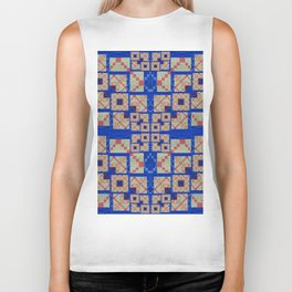 Retro Futuristic Modern Blue and Red Patchwork Geometry Biker Tank