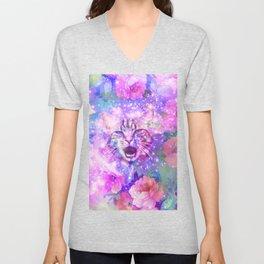 Space Cat | Girly Kitten Cat Romantic Floral Pink Nebula Space Unisex V-Neck