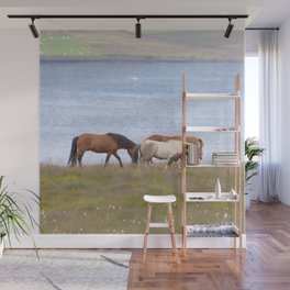 Watercolor Horse 05, Icelandic Pony, Shore of Eyjafjörður, Iceland, Mosying Along Wall Mural