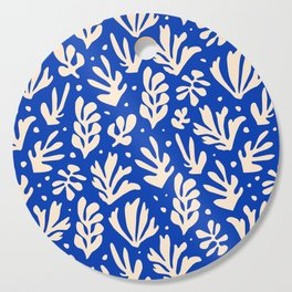 matisse pattern with leaves in blu Cutting Board